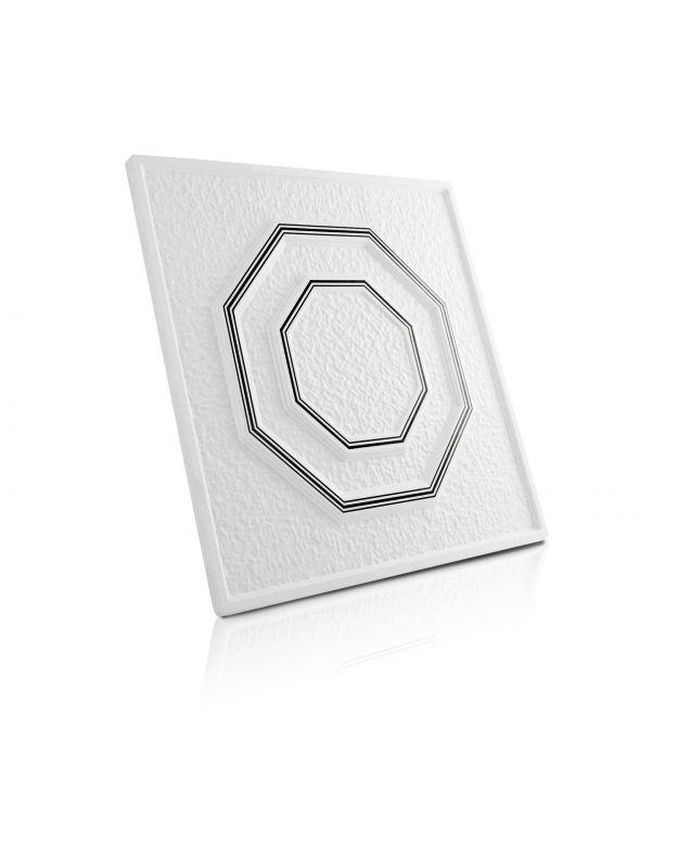 Stropní kazety – Osmiúhelník – černý potisk (50 x 50 x 2 cm) | www.strakastavoplast.cz